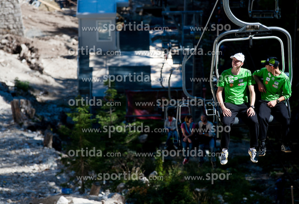 Mitja Meznar and Dejan Judez at media day of Slovenian Ski jumping team during construction of two new ski jumping hills HS 135 and HS 105, on September 18, 2012 in Planica, Slovenia. (Photo By Vid Ponikvar / Sportida)