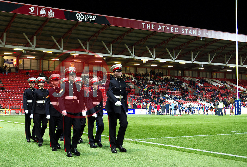 Remembrance parade at Ashton Gate - Mandatory by-line: Paul Knight/JMP - 11/11/2016 - RUGBY - Ashton Gate - Bristol, England - Bristol Rugby v Sale Sharks - Anglo Welsh Cup