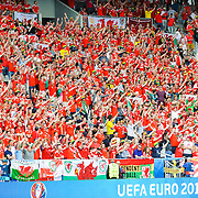 Wales fans at the WALES v SLOVAKIA UEFA EURO 2016 game at Stade Matmut Atlantique in Bordeaux, 11 June 2016. (c) Paul J Roberts | RobertsSports Photo