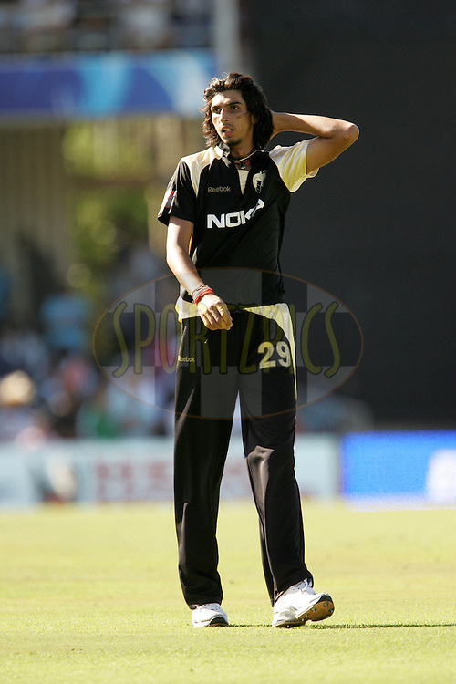 EAST LONDON, SOUTH AFRICA - 1 May 2009. Ishant Sharma shows his frustration at having a caught and bowled disallowed for a no ball during the  IPL Season 2 match between the Mumbai Indians and the Kolkata Knight Riders held at Buffalo Park in East London. South Africa..