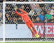 LAFC goalkeeper Tyler Miller (1) blocks a strike during an MLS soccer match against the San Jose Earthquakes. The LAFC defeated the San Jose Earthquakes 4-0 on Wednesday, Aug. 21, 2019, in Los Angeles. (Ed Ruvalcaba/Image of Sport)