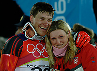 Photo: Catrine Gapper.<br /> Winter Olympics, Turin 2006. Alpine Skiing Men's Combined Slalom. 14/02/2006. Kostelic Ivica (Croatia) celebrates his silver victory with his sister.