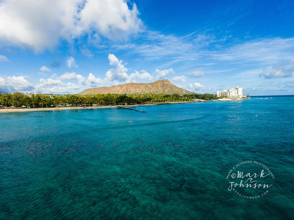 Aerial view of Diamond Head, Honolulu, Oahu, Hawaii