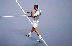 Croatia's Marin Cilic in action during his singles match on day six of the Nitto ATP Finals at The O2 Arena, London.