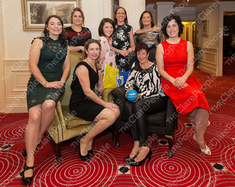 Back Row: Agnes O'Malley, Clare Queally, Marie O'Loughlin,  <br /> Front Row: Moira Talty, Caroline Power, Moira Rouhan and Deirdre McAliister all players from Clare Ladies Football Winners