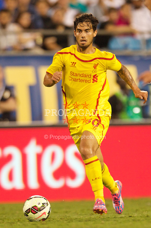 CHARLOTTE, USA - Saturday, August 2, 2014: Liverpool's 'Suso' Jesus Joaquin Fernandez Saenz De La Torre in action against AC Milan during the International Champions Cup Group B match at the Bank of America Stadium on day thirteen of the club's USA Tour. (Pic by Mark Davison/Propaganda)