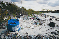 The east shores of Lee Stocking Cay are littered with washed up plastics. Exumas, Bahamas.