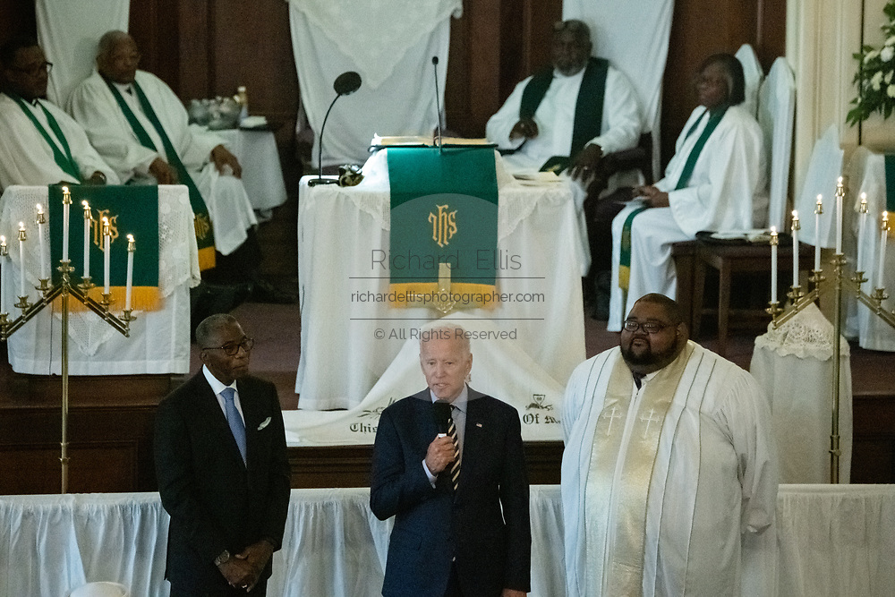 Democratic presidential hopeful former Vice President Joe Biden addresses the Sunday service at the Morris Brown AME Church July 7, 2019 in Charleston, South Carolina. South Carolina, called the First in the South, is the first southern democratic primary in the presidential nomination race.