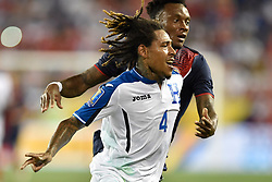 July 7, 2017 - Harrison, New Jersey, U.S - Honduras defender HENRY FIGUEROA (4) is seen defending Costa Rica midfielder RODNEY WALLACE (13) during CONCACAF Gold Cup 2017 action at Red Bull Arena in Harrison New Jersey Costa Rica defeats Honduras 1 to 0. (Credit Image: © Brooks Von Arx via ZUMA Wire)