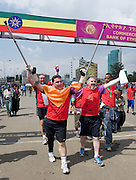 Amputee Eamonn  Victory from Dunleer Co. Louth finishes the 2011 Great Ethiopian Run (the Biggest road race in Africa with over 36,000 participants)  celebrates with Self Help Africa's  Ronan Scully .Many charities benefit from the race while 15 irish people raised thousands of Euro for Self Help Africa to continue development programmes in Africa. Photo:Andrew Downes.