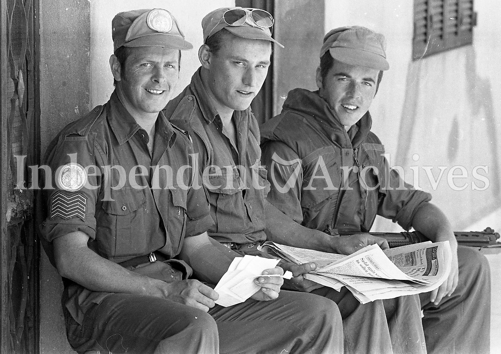 Reading letters and papers from home are Sgt Paul Cooley, Longford, Pte John Ruane and Pte Michael McDonagh, 15/06/1978 (Part of the Independent Newspapers Ireland/NLI Collection).