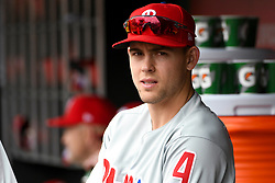 May 6, 2018 - Washington, DC, U.S. - WASHINGTON, DC - MAY 06:  Philadelphia Phillies second baseman Scott Kingery (4) stands in the dugout during the game between the Philadelphia Phillies  and the Washington Nationals on May 6, 2018, at Nationals Park, in Washington D.C.  The Washington Nationals defeated the Philadelphia Phillies, 5-4.  (Photo by Mark Goldman/Icon Sportswire) (Credit Image: © Mark Goldman/Icon SMI via ZUMA Press)