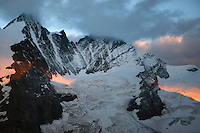 Dawn at Grosglockner Mountain, the highest peak of Austria, Hohe Tauern National Park, Carinthia, Austria