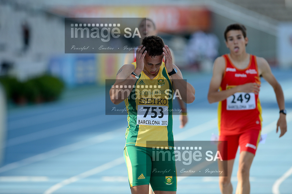 BARCELONA, Spain: Tuesday 10 July 2012, Ruan Greyling of South Africa in the mens 400m during the afternoon session of Day 1 of the IAAF World Junior Championships at the Estadi Olimpic de Montjuic..Photo by Roger Sedres/ImageSA