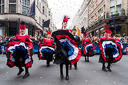 © Licensed to London News Pictures. 01/01/2018. Performers take part in London's New Year's Day Parade on 1 January 2017 in central London. The event is one of the world's great street spectaculars with up to 10,000 performers from around the world and hosts marching bands, cheerleaders, leading companies, unions and local boroughs celebrating the arrival of 2017.London, UK. Photo credit: Ray Tang/LNP