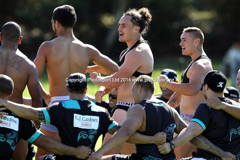 Brad Takarangi does a pregame haka<br /> NZRL Training for the test match at Old Saleyards Reserve, North Parramatta Australia. Tuesday 3 May 2016. Photo: Paul Seiser/Photosport.nz