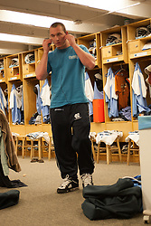 08 March 2008: North Carolina Tar Heels men's lacrosse midfielder Nick Tintle (23) listens to music on his iPod pregame before playing the Notre Dame Fighting Irish in Chapel Hill, NC.