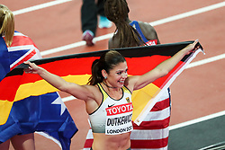 London, August 12 2017 . Pamela Dutkiewicz, Germany, celebrates her bronze medal in the women's 100m hurdles final on day nine of the IAAF London 2017 world Championships at the London Stadium. © Paul Davey.