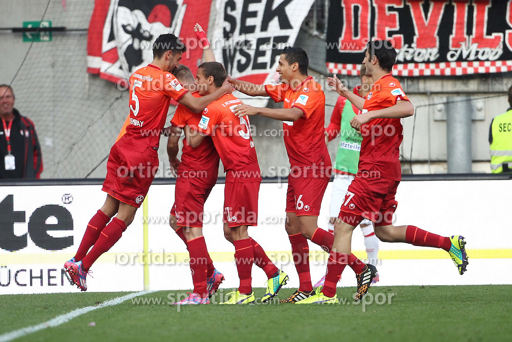 24.09.2014, Fritz Walter Stadion, Kaiserslautern, GER, 2. FBL, 1. FC Kaiserslautern vs 1. FC Union Berlin, 7. Runde, im Bild Alexander Ring (1.FC Kaiserslautern) bejubelt seinen Treffer zum 1:0 mit Kerem Demirbay (1.FC Kaiserslautern), Chris Loewe (1.FC Kaiserslautern), Karim Matmour (1.FC Kaiserslautern) und Markus Karl (1.FC Kaiserslautern), Torjubel / Jubel, Emotionen // during the 2nd German Bundesliga 7th round match between 1. FC Kaiserslautern and 1. FC Union Berlin at the Fritz Walter Stadion in Kaiserslautern, Germany on 2014/09/24. EXPA Pictures &copy; 2014, PhotoCredit: EXPA/ Eibner-Pressefoto/ Neis<br /> <br /> *****ATTENTION - OUT of GER*****