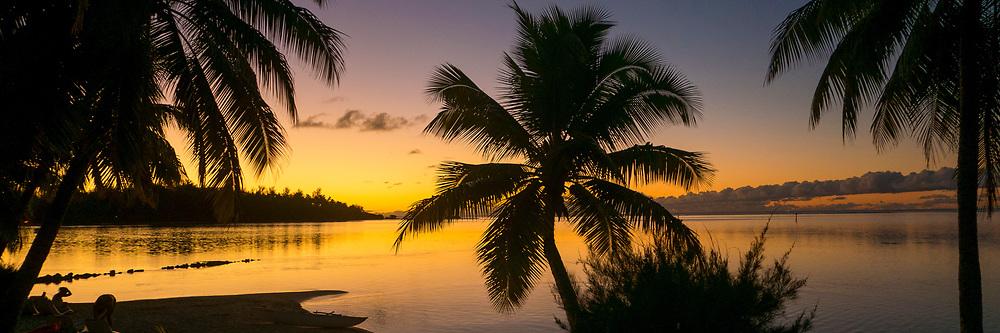 Sunset, Tiahura, Moorea, French Polynesia, South Pacific