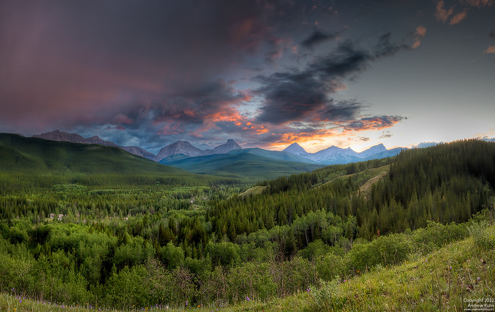 Sunset in Kananaskis Country, Alberta with approaching thunderstorm - August 2010.<br />