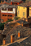 View of rooftops, Roussillon de Provence, France.Also known as the Ochre City.