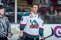 KELOWNA, CANADA - MARCH 14:  Carsen Twarynski #18 of the Kelowna Rockets heads for the dressing room after a game misconduct and roughing penalty is called  for a third period line brawl against the Prince George Cougars on March 14, 2018 at Prospera Place in Kelowna, British Columbia, Canada.  (Photo by Marissa Baecker/Shoot the Breeze)  *** Local Caption ***