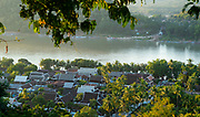 High angle view of the Mekong  River and Luang Prabang, Laos, from Mount Phousi.