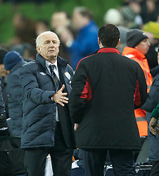 DUBLIN, IRELAND - Tuesday, February 8, 2011: Republic of Ireland's manager Giovanni Trapattoni shakes hands with Wales' manager Gary Speed MBE after his side's 3-0 victory during the opening Carling Nations Cup match at the Aviva Stadium (Lansdowne Road). (Photo by David Rawcliffe/Propaganda)