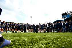 Worcester Warriors huddle after beating Gloucester Rugby and securing Premiership Rugby status - Mandatory by-line: Robbie Stephenson/JMP - 28/04/2019 - RUGBY - Sixways Stadium - Worcester, England - Worcester Warriors v Gloucester Rugby - Gallagher Premiership Rugby
