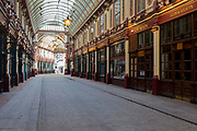As the UK government's lockdown restrictions during the Coronavirus pandemic continues, and number of UK reported cases rose to 138,078 with a total now of 18,738 deaths, Leadenhall Market is seen deserted and closed up on St. George's Day when the bars and pubs would normally be thriving on England's patron saint's day (plus Shakespeare's birth and death day), in the City of London, the capital's financial district, on 23rd April 2020, in London, England.