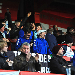 TELFORD COPYRIGHT MIKE SHERIDAN 17/11/2018 - AFC Telford fans celebrate the second goal during the Vanarama Conference North fixture between FC United of Manchester and AFC Telford United.