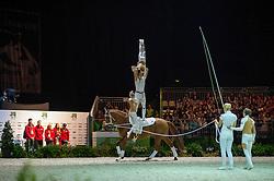Team GER, Delia 99, Jessica Schmitz - Squad Freestyle Vaulting - Alltech FEI World Equestrian Games™ 2014 - Normandy, France.<br /> © Hippo Foto Team - Jon Stroud<br /> 03/09/2014