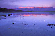 Dawn light on Badwater (lowest point in the US) and Telescope Peak, Death Valley National Park, California