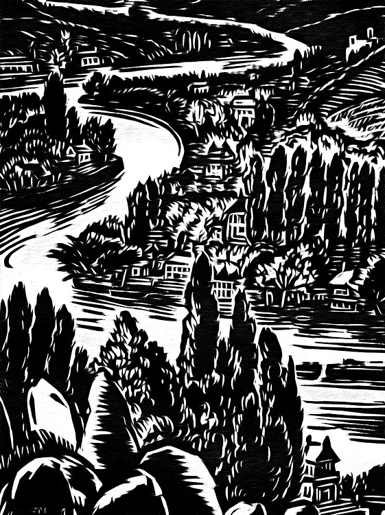 A black / white drawing of a river flowing through a valley