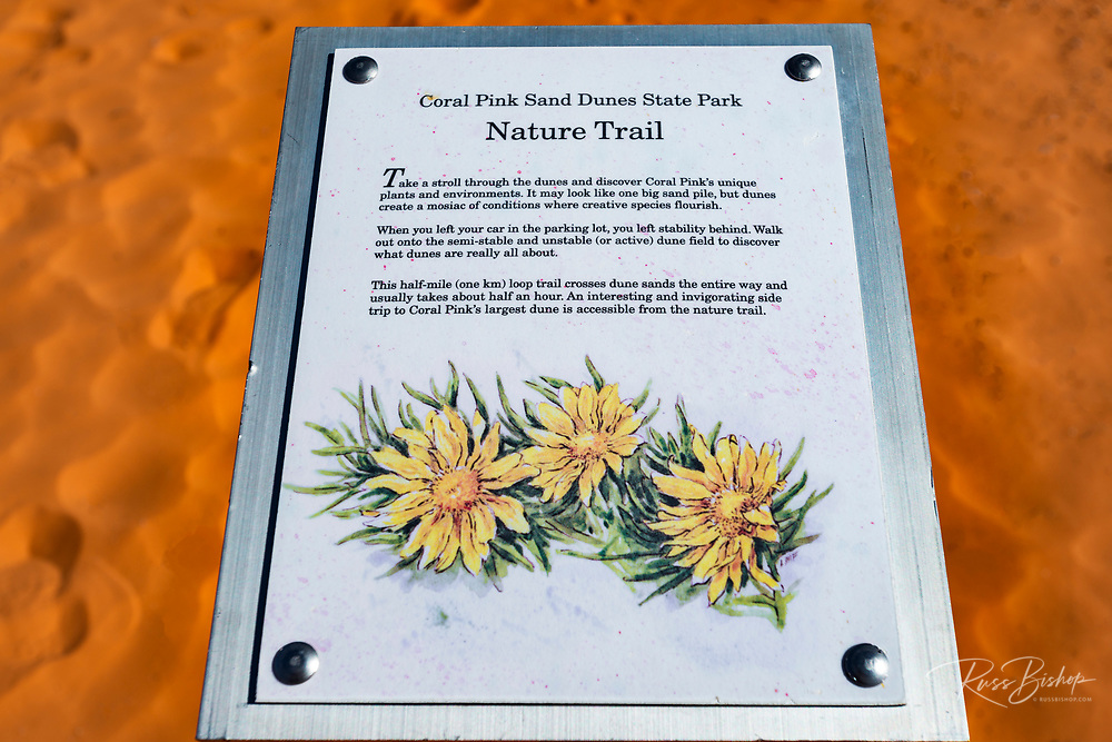 Interpretive sign, Coral Pink Sand Dunes State Park, Kane County, Utah USA