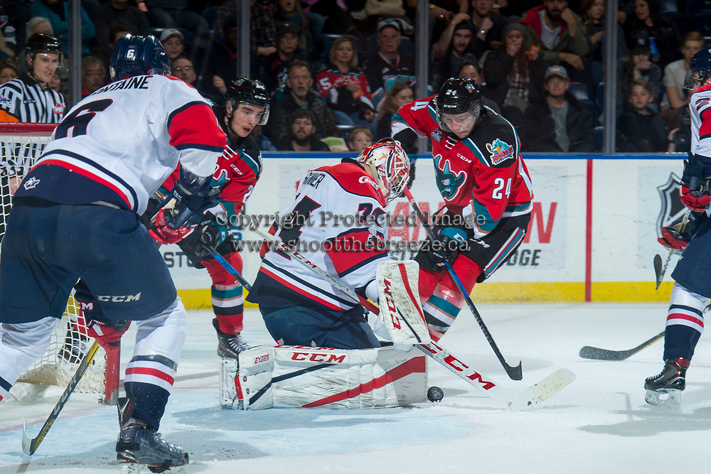 KELOWNA, CANADA - NOVEMBER 17: Kyle Topping #24 of the Kelowna Rockets tries to put the puck past Stuart Skinner #74 of the Lethbridge Hurricanes during third period on November 17, 2017 at Prospera Place in Kelowna, British Columbia, Canada.  (Photo by Marissa Baecker/Shoot the Breeze)  *** Local Caption ***