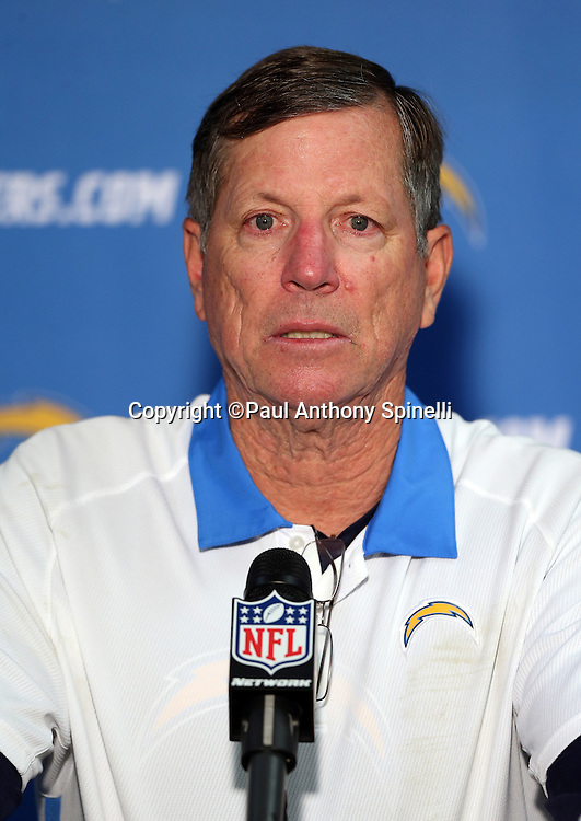 San Diego Chargers head coach Norv Turner does a postgame press conference after the NFL week 17 football game against the Oakland Raiders on Sunday, Dec. 30, 2012 in San Diego. The Chargers won the game 24-21. ©Paul Anthony Spinelli