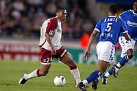 Fotball<br /> Frankrike 2003/04<br /> Strasbourg v Paris St. Germain<br /> 1. mai 2004<br /> Foto: Digitalsport<br /> NORWAY ONLY<br /> <br />  JOSE PIERRE FANFAN (PSG) / CEDRIC KANTE (STR