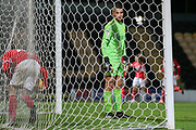 Dimitar Evtimov of Burton Albion (26) can only watch as Hayden Hackney of Middlesbrough (62) scores a goal during the EFL Trophy group stage match between Burton Albion and U21 Middlesbrough at the Pirelli Stadium, Burton upon Trent, England on 7 November 2018.