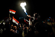 Egyptian protesters in Tahrir Square, Cairo, celebrate the news of President Hosni Mubarak's resignation following nineteen days of protests.