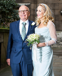 © London News Pictures. 05/03/2016. London, UK. The Bride and Groom leave the church. A ceremony to mark the wedding of Rupert Murdoch and Jerry Hall held at St Brides Church on Fleet Street,  central London on February 05, 2016. . Photo credit: Ben Cawthra /LNP