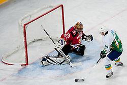 Dejan Kontrec vs Miha Bajt during ice-hockey friendly match between legends of HDD Tilia Olimpija and HK Acroni Jesenice, on April 14, 2012 at SRC Stozice, Ljubljana, Slovenia. (Photo By Matic Klansek Velej / Sportida.com)
