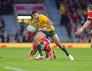 Israel Folau on the break during the Rugby World Cup Pool A match between Australia and Wales at Twickenham, Richmond, United Kingdom on 10 October 2015. Photo by Ian Muir.during the Rugby World Cup Pool A match between Australia and Wales at Twickenham, Richmond, United Kingdom on 10 October 2015. Photo by Ian Muir.