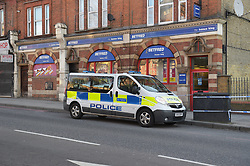 © Licensed to London News Pictures, 05/04/2018, Police tape off the area outside Bet Fred betting shop in Upper Clapton Road, Hackney, after a 50 year old male was found on the street with fatal injuries following an altercation with another male. The victim was pronounced dead at the scene; Photo credit: Steve Poston/LNP