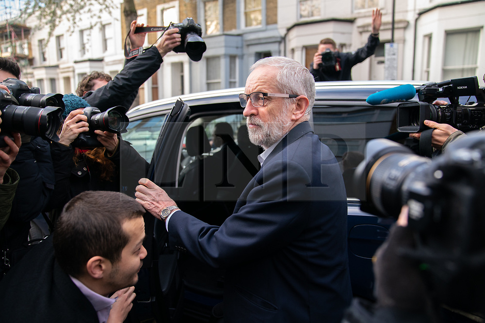 © Licensed to London News Pictures. 03/04/2019. London, UK. Leader of the Labour Party Jeremy Corbyn is photographed by media as he leaves home this morning. Yesterday evening British Prime Minister Theresa May made a statement in Downing Street offering to go into talks with Mr Corbyn, following the announcement of a request for an extension to article 50, thereby delaying Britain leaving the European Union. Photo credit : Tom Nicholson/LNP