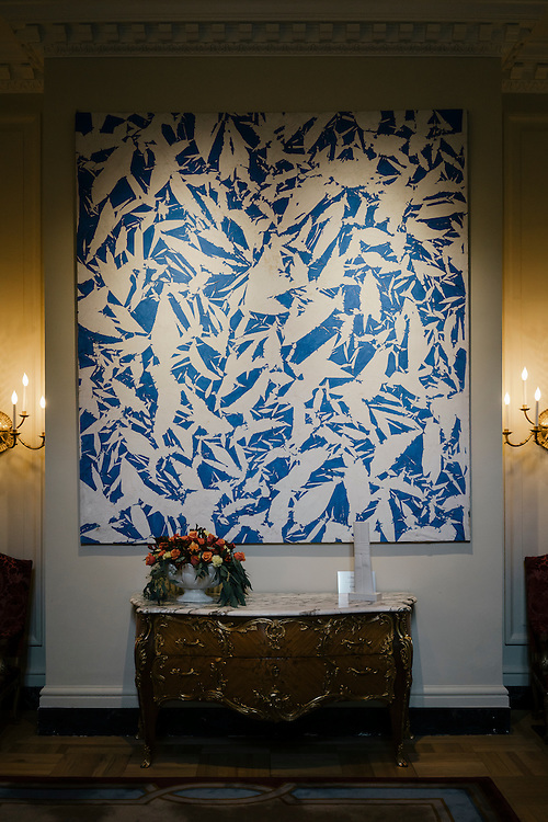 Painting by Simon Hantaï, 1969 hung in the entrance to the French Ambassador's residence in the Kalorama neighborhood of Washington D.C. France acquired the residence in 1936.