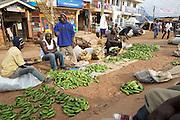 Men selling matooke on the side of the road in Kampala, Uganda.