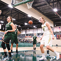 3rd year guard Michaela Kleisinger (2) of the Regina Cougars during the Women's Basketball pre-season game on October 14 at Centre for Kinesiology, Health and Sport. Credit: Arthur Ward/Arthur Images