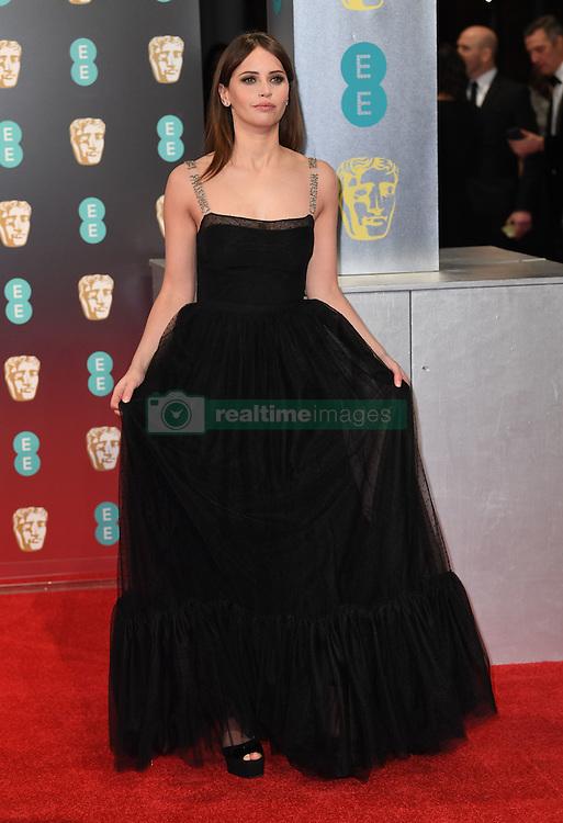 Felicity Jones attending the EE British Academy Film Awards held at the Royal Albert Hall, Kensington Gore, Kensington, London. Picture date: Sunday February 12, 2017. Photo credit should read: Doug Peters/ EMPICS Entertainment
